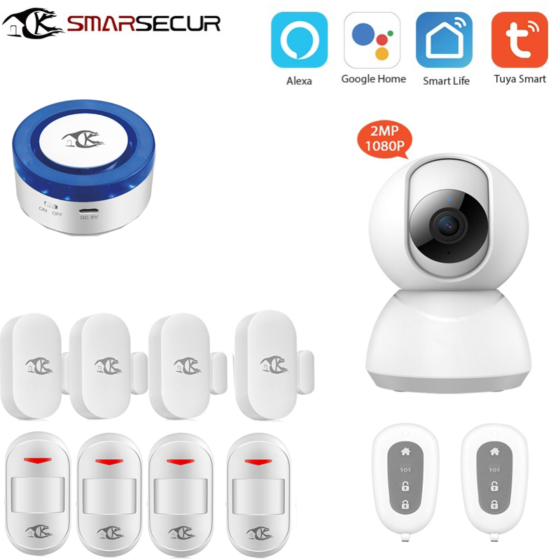 Home security Wifi smart home Siren security wifi alarm system for smart life APP compatible alexa Google Home