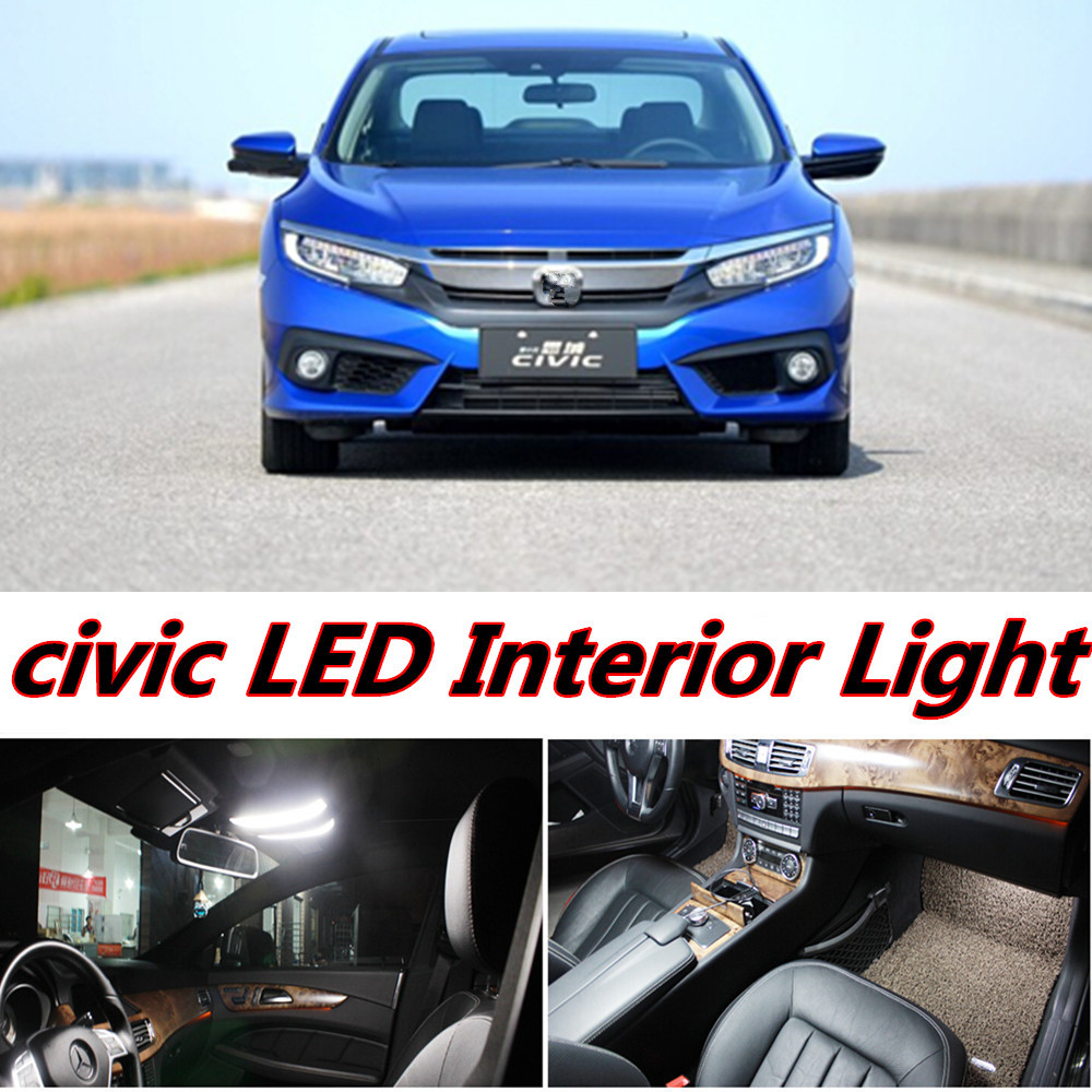 4pcs X free shipping Error Free LED Interior Light Kit Package for honda civic accessories 2016 2017 free shipping new arrival 35pcs pack 2m pcs led aluminum profile for led strips with milky or transparent cover and accessories