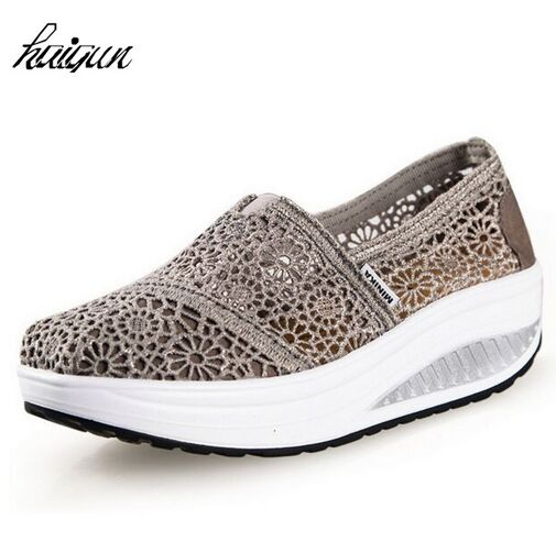 Factory Outlet designer breathable Lace slimming air women platform shoes spring/summer casual outdoor shoes women creepers