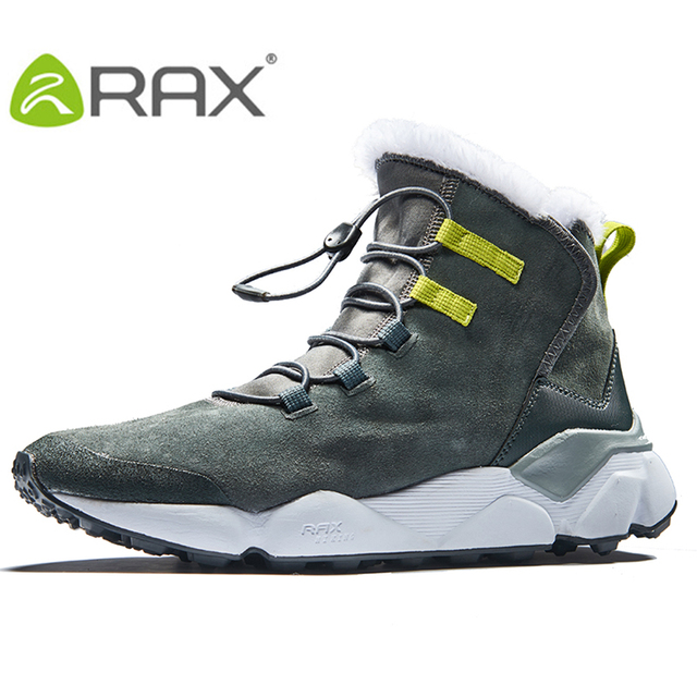 RAX Men's Hiking Shoes Anti-slip Shoes with Plush Lining Mid-high Classic Style Boots for Professional Men