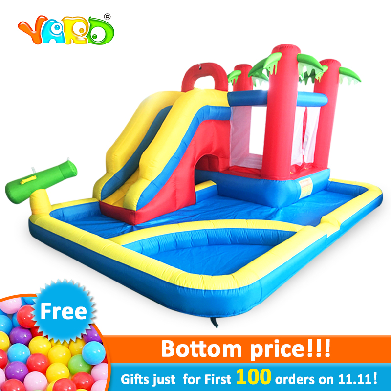 YARD Inflatable Slide Castle Jumping House Use 4.7*3.1*2.3M Water Trampoline For Children Inflatable Water Slide Bouncy Castle купить недорого в Москве