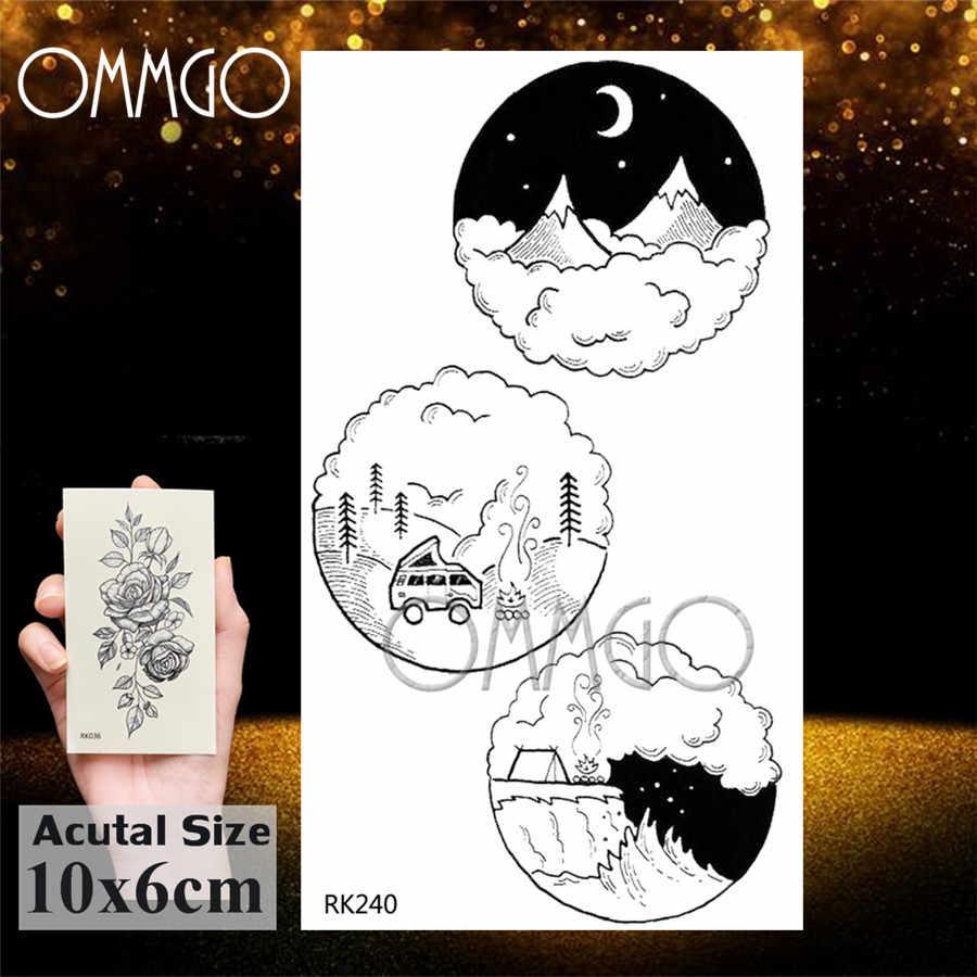 Ommgo astronauta estrela universo tatuagens temporária dedo pescoço falso tatuagem adesivo planetas tatoos redondos arte do corpo braço pequeno outspace