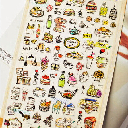 Korea Import Hearty Dinner Label Stickers Decorative Stationery Stickers Scrapbooking DIY Stickers Diary Album Stick Label spring and fall leaves shape pvc environmental stickers decorative diy scrapbooking keyboard personal diary stationery stickers