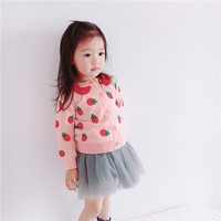 2018 New Kids Winter Outerwear Pink Srawberry Knitted Cardigan for Little Girl Autumn Long Sleeve Princess Elegant Sweaters