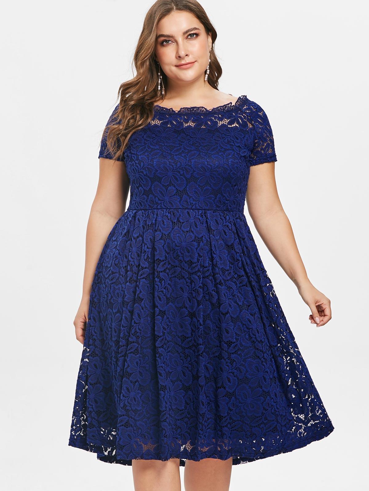 7b83463679 Wipalo Plus Size Lace Panel Off Shoulder A Line Dress Autumn Women Vintage  Elegant Solid Blue Party Dress Femme Vestidos 5XL