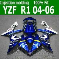 Литья под давлением кузов Обтекатели для yamaha r1 комплект обтекателей 2004 2005 2006 синий белый комплекты YZF R1 04 05 06 as39