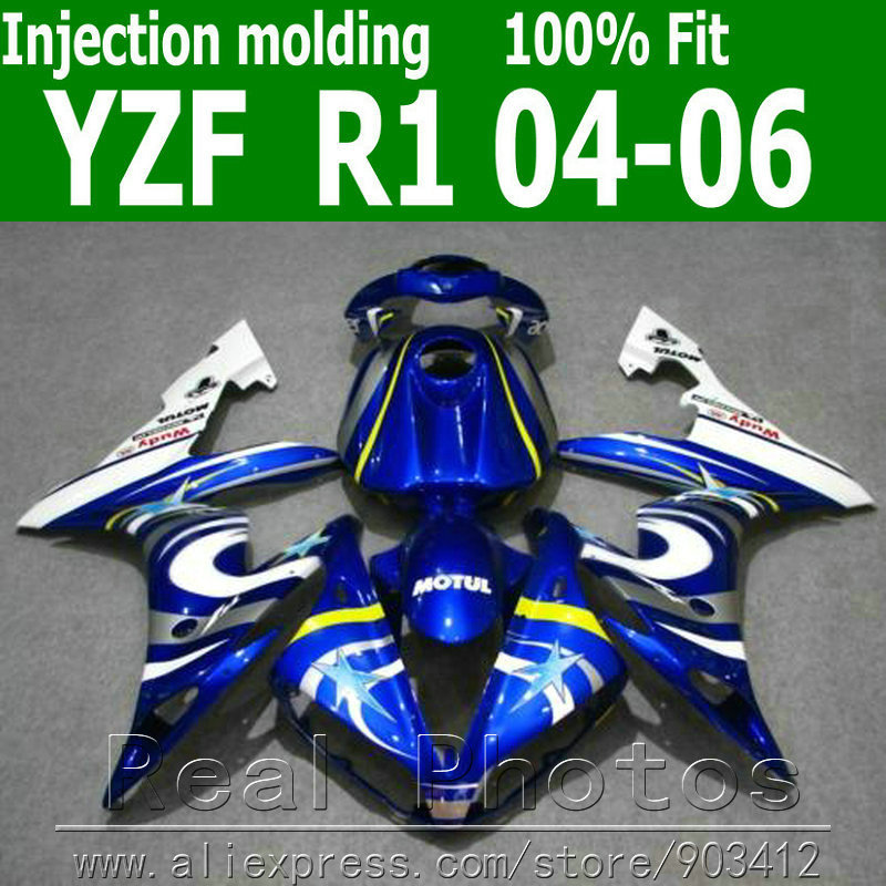 Injection molding bodywork fairings for YAMAHA R1 fairing kit 2004 2005 2006 blue white sets YZF R1 04 05 06 AS39 hot sales for yamaha r1 fairings yzfr1 2007 2008 yzf r1 yzf r1 yzf1000 r1 07 08 red black abs fairings injection molding