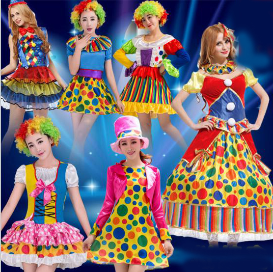 Men Women Halloween Cosplay Masquerade Magician Clown Clothes Suit Party Female Clown Tutu Dress Adult Clown Costume