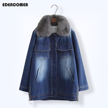 Large Fur Collar Women Denim Parkas 2019 Winter New Casual Loose Lamb Wool Thick Long Female Coats Cotton Solid Balck