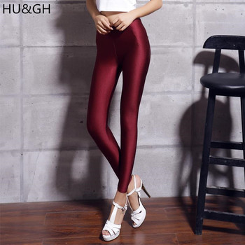 New 20 Candy Colors Solid Fluorescent Leggings Women Casual Plus Size Multicolor Shiny Glossy Legging Female Elastic Pant 1