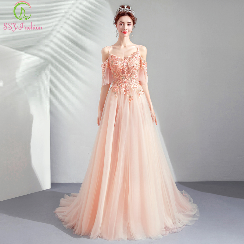 SSYFashion New Sweet Pink Lace Evening Dress Luxury Appliques Beading Floor length Prom Formal Gown Robe De Soiree