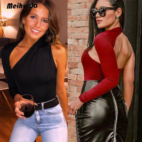 Womens One Shoulder Ripped Personality Black Red Beige Solid Jumpsuit Ladies Evening Party Playsuit Women's Clothing
