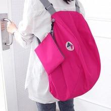 Leve náilon dobrável mochila de armazenamento ombro multifuncional pacote acabamento ao ar livre mochila feminina