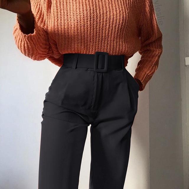 2019 Fashion High Waist Slim Fit Sweat Pencil Pants Women Belt Streetwear Casual Capris Workout Femme Black Blue Ninth Trousers 1