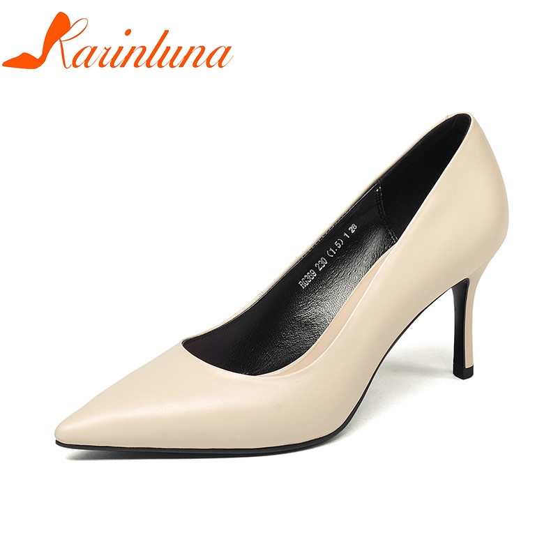 KARINLUNA 2018 Spring Autumn Concise Style Women Pumps High Heels Shallow Ol Shoes Woman Genuine Leather Pointed Lady Shoe siketu free shipping spring and autumn high heels shoes career sex women shoes wedding shoes patent leather style pumps g017