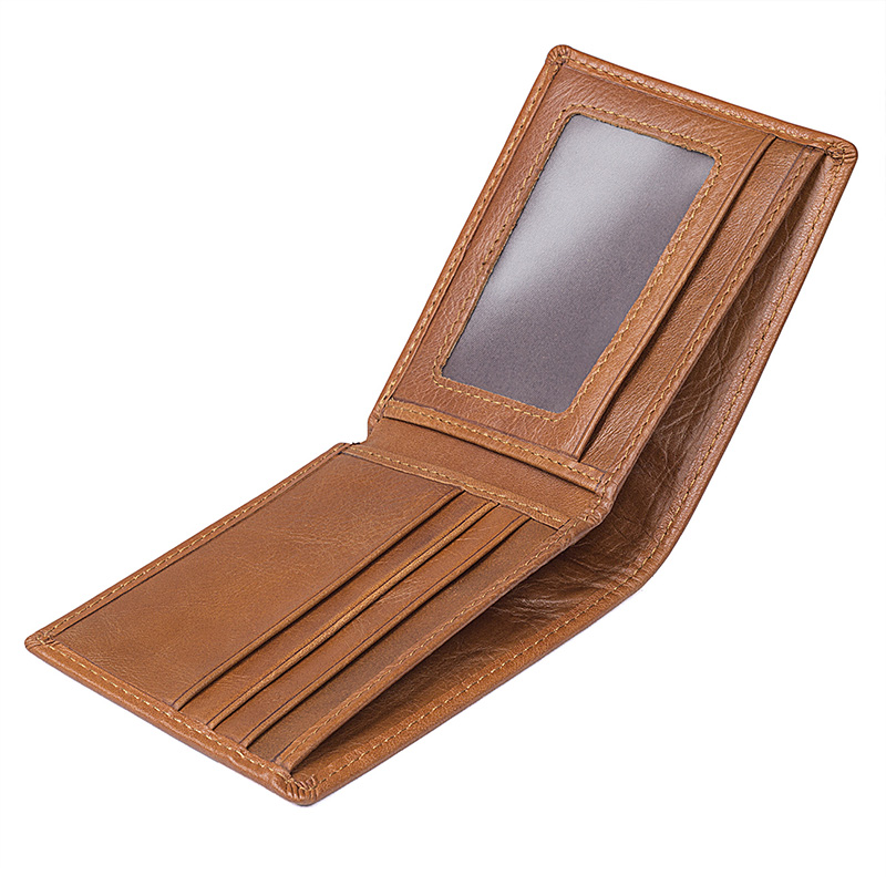 Augus New Arrivals Genuine Leather Short Purse Business Unisex Photo Holder Card Holder Fashion Wallet Money Holder Wallet 8161B in Wallets from Luggage Bags