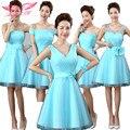 AnXin SH Azul flor vestido de Dama de Honra irmãs vestido de Dama de honra projeto curto da dama de honra Vestidos