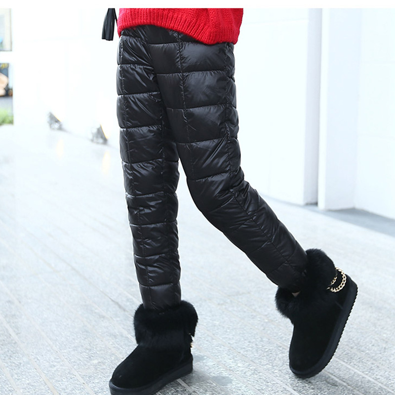 Image 2 - Winter Children Down Cotton Clothing Boys Pants Girls Leggings Kids Warm Down Trousers Windproof Waterproof Snow Pants For Kids-in Pants from Mother & Kids