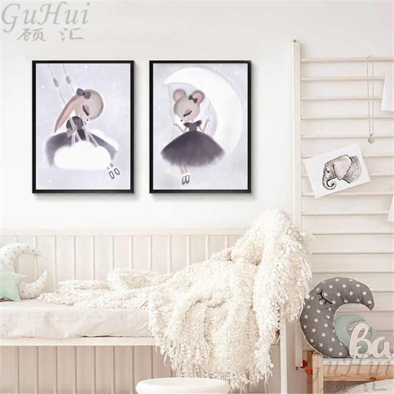 Nordic Watercolor Cartoon Fairy Mouse Elf Swing Girls Angel Canvas Painting Animal Poster Baby Kids Room Decoration Wall Picture
