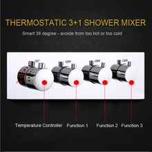 3 Functions Shower Control Switch Valve Bathroom Faucets High Flow Concealed Mixer BrassThermostatic Valves