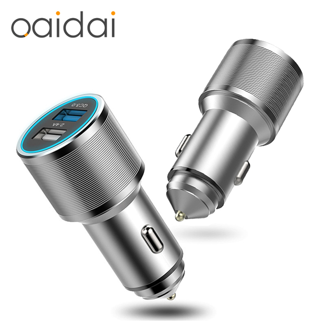 Mini Car Charger Dual USB Output 2.4A Lighter DC 12-24V QC 3.0 Car-charger Phone Adapter For iPhone X 8 Xs Msx Samsung S8 Xiaomi