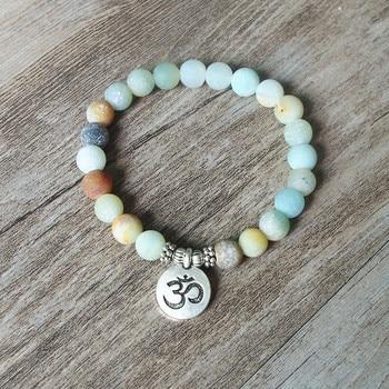 Matte Amazonite Stone Strand Bracelet Yoga Chakra Mala Bracelet OM Lotus Women Men Beaded 2