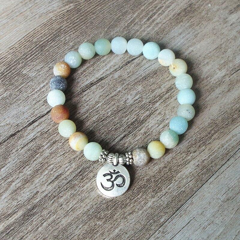 Matte Amazonite Stone Strand Bracelet Yoga Chakra Mala Bracelet OM Lotus Women Men Beaded Charm Bracelet Handmade Jewelry 2