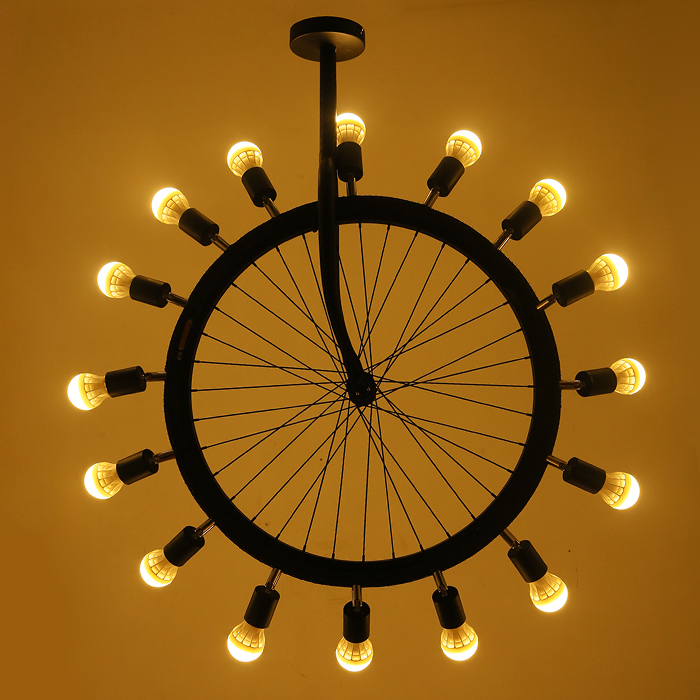Vintage Industrial Tyre Ferris Wheel Wrought Iron Led Pendant Lamps Lights Fixtures Cafe Club Bar Metal Pendant Lighting Gift