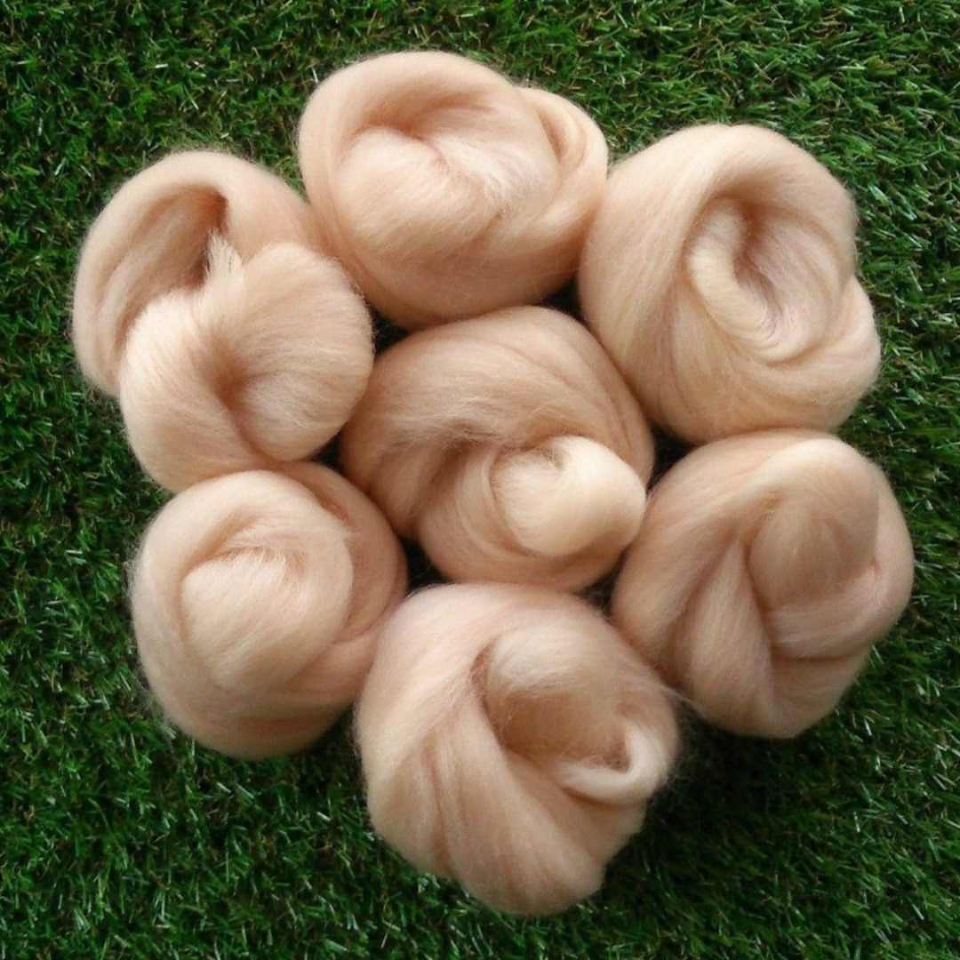 45g Needle Felting Light Pink Flesh Skin Tones Felting Wool Roving Fibre Wool For 3D Projects DIY Needle Felting
