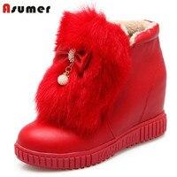 ASUMER Moda mujer botas aumento de la altura del tobillo plana botas de invierno mantener caliente botas de nieve dulce viento de la universidad