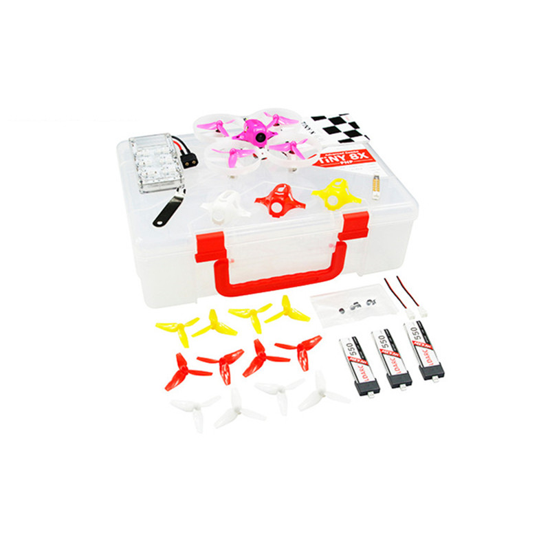 KINGKONG LDARC TINY 8X Advanced Combo 85mm Mini FPV Drone F3 FC w 3pcs 3.8V 550mAh 50C Battery TINY Case Charger TINY Meter 1S