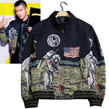 New autumn and winter Universe moon astronauts in space exploration stand collar short jacket design outerwear coat men clothing