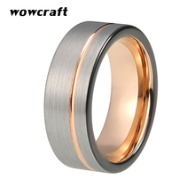 8mm Tow Tone Mens Tungsten Carbide Ring Black Rose Gold Color Womens Wedding Bands with Offset Line Silver Matte Finish