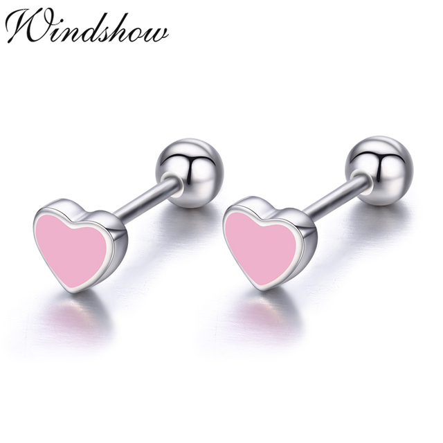 6bdf3b669 Cute Small Black Heart 925 Sterling Silver Screw Stud Earrings For Women Girls  Children Baby Kids Jewelry Orecchini Aros Aretes