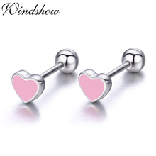 Cute Small Black Heart 925 Sterling Silver Screw Stud Earrings For Women Girls Children Baby Kids Jewelry Orecchini Aros Aretes