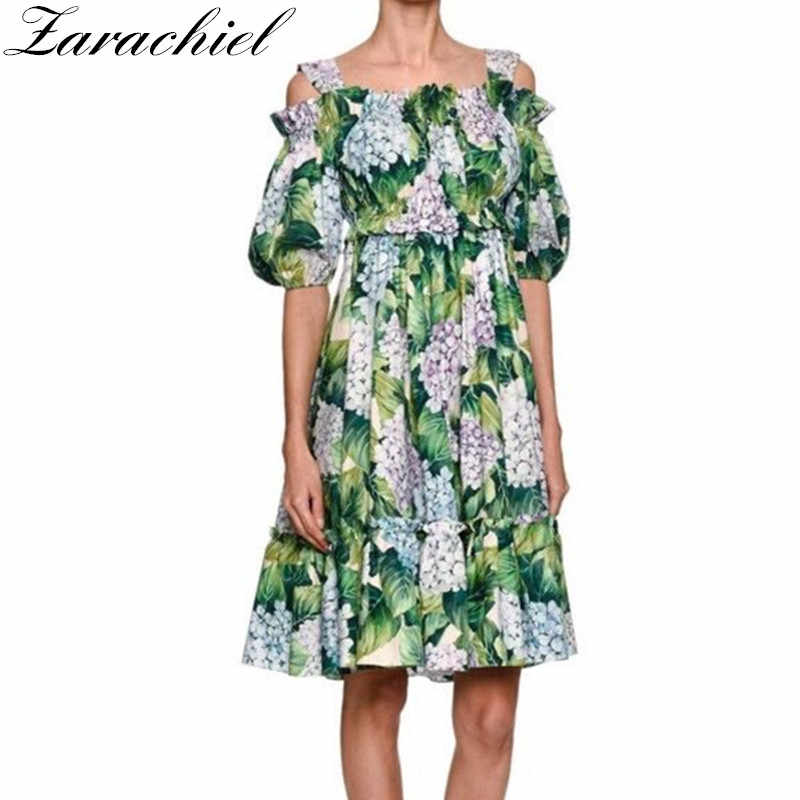 New 2018 Runway Hydrangea Floral Summer Dress Women s Cold Cut Out Shoulder  Green Leaves Flower Print c498feaac5d3