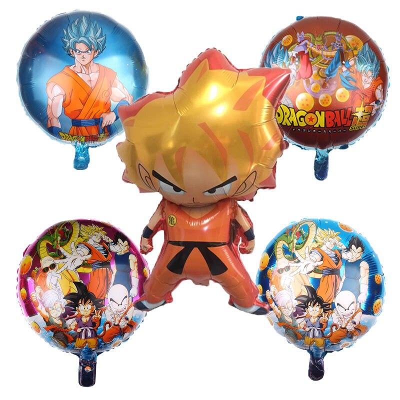 Cartoon Hat 5pcs/set Cartoon 7 Dragon Ball Goku Foil Balloon 32inch Number Balloon Set Happy Birthday Party Decoration Kids Hat