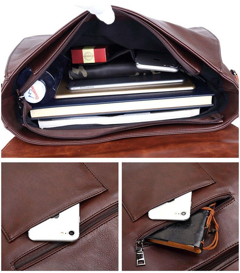 HTB1u1O3RY2pK1RjSZFsq6yNlXXak Crazy Horse Artificial Leather Business Handbag Laptop Briefcases for Men Leather Casual Men Bag Messenger Shoulder Bags Man