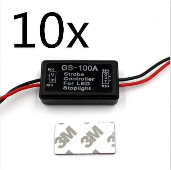 10 шт. GS-100A автомобиля контроллер вспышки Box модуль светодио дный для светодиодный тормозной Хвост Стоп Тюнинг автомобилей