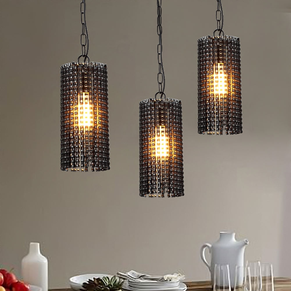 Vintage Bicycle Chain Style Lamp European Industrial Wind Pendant Light Droplight for Restaurant Home Decoration Guest Room