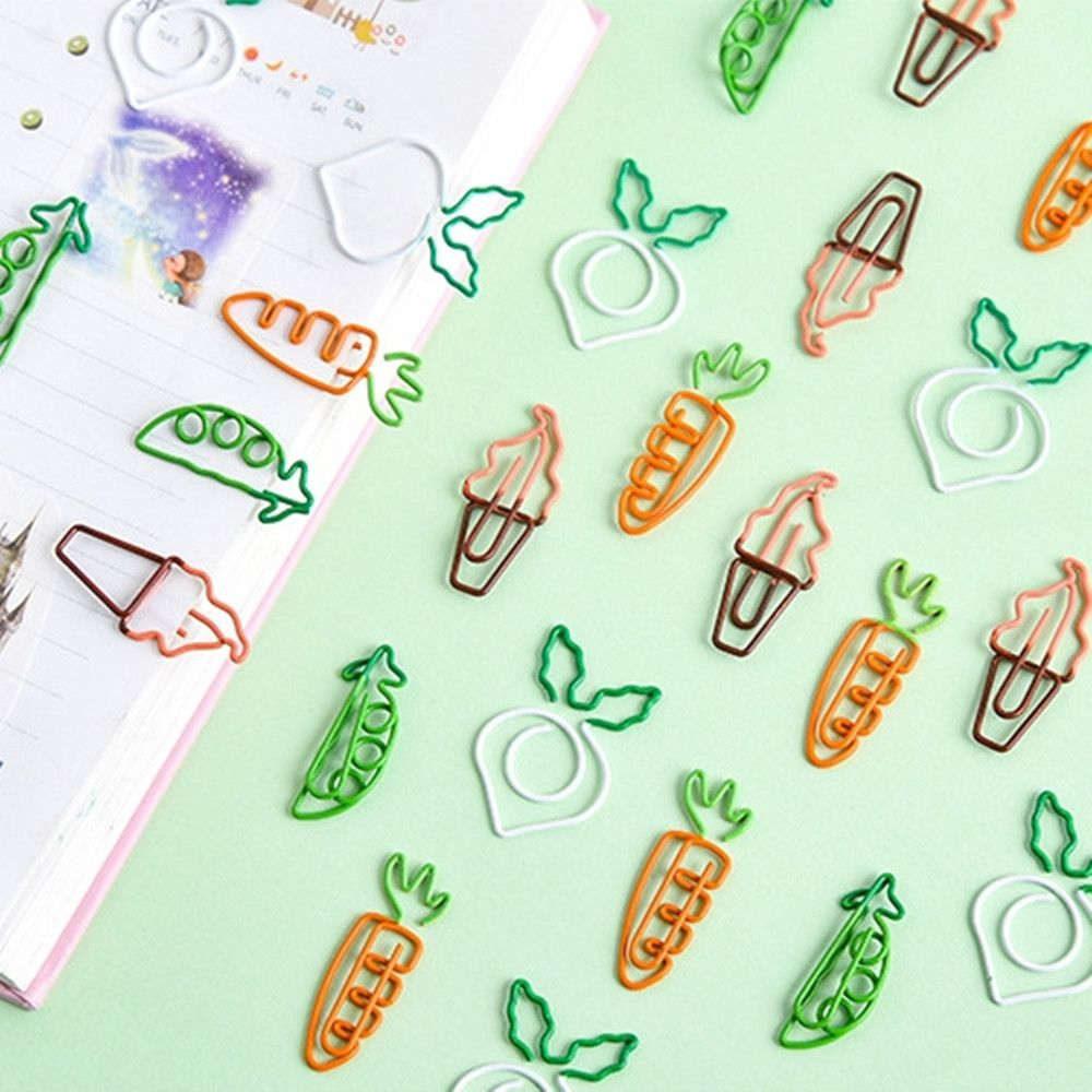 12 Pcs/lot Cute Fruit Carrot Shaped Metal Paper Clip Bookmark Stationery School Office Supply