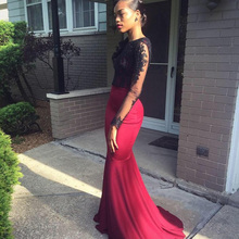 2017 Charming Black Lace Full Long Sleeve Muslim Evening Dresses Plus Size Burgundy Skirt Memaid Prom Gowns For  Women Cheap