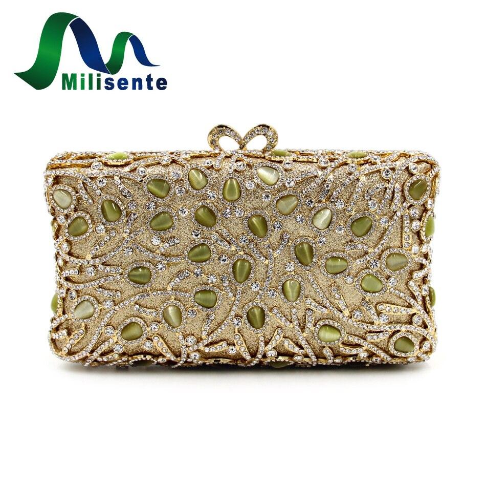 ФОТО Milisente Vintage Box Clutches Women Day Clutch Luxury Crystal Bags Gold Diamond Lady Evening Bag Small Wedding Purse