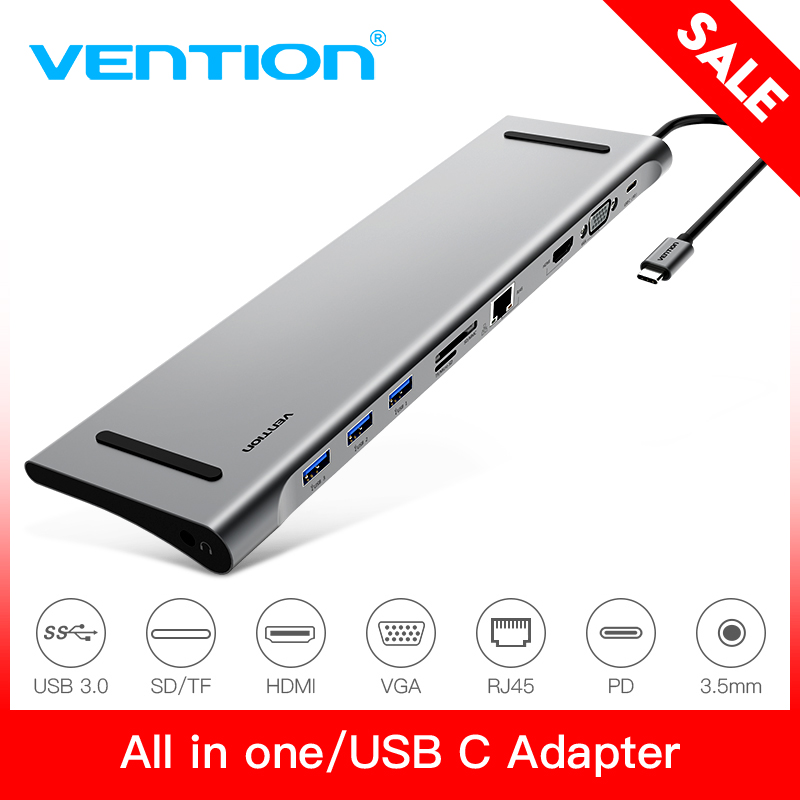 Vention все-в-1 USB C до HDMI конвертер VGA USB 3,0 концентратор SD/TF Card Reader 3,5 мм Jack PD RJ45 адаптер для MacBook Тип usb C концентратора