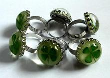 FREE SHIPPING 12 pcs Fashion Real Shamrock Jewelry Four Leaf Clover Glow Finger Ring