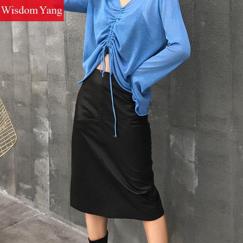 Dames En Long Sexy De Black Réel Jupe Haute Cuir Véritable Midi Crayon Taille Automne Portefeuille Noir Peau Parti Skirt Mouton Femmes Jupes 8UFwx8HqT