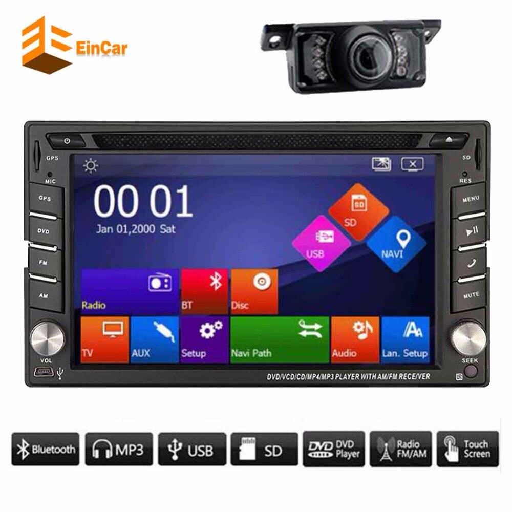 Free Camera+2 din In dash Car PC gps Radio Stereo GPS Navigation <font><b>Bluetooth</b></font> DVD MP4 Video Player Head Unit iPod <font><b>AUX</b></font> tape recorder