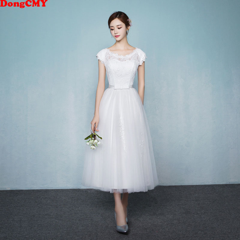 DongCMY 2019 New Princess Junior   Bridesmaid     Dresses   White Color Short Elegant Vestido Gowns