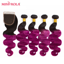 Miss Rola Hair Pre-colored Ombre Indian Body Wave #1B/Purple 100% Human Hair Non Remy 4 Bundles with Closure Hair Extensions