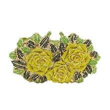 Ослепительно Для женщин Золотая Роза выдалбливают Кристалл Вечернее Металл Клатчи Малый minaudiere Сумочка Кошелек Свадьба коробка клатч(China)
